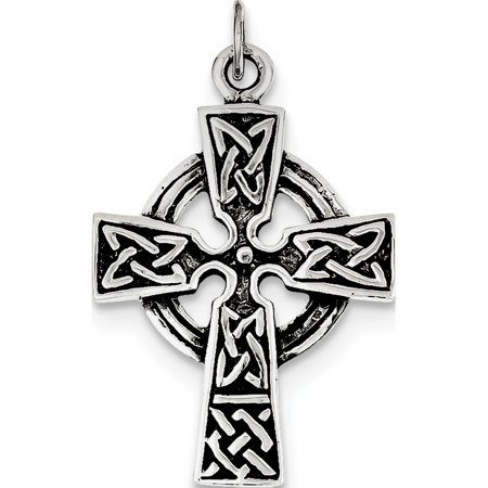 Leslies Fine Jewelry Designer 925 Sterling Silver Antiqued Celtic Cross (23x34mm) Pendant Gift