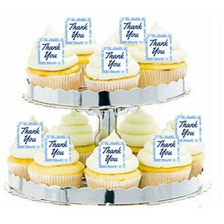 24pk Thank you Blue Edible Cupcake  Decoration Toppers / Picks