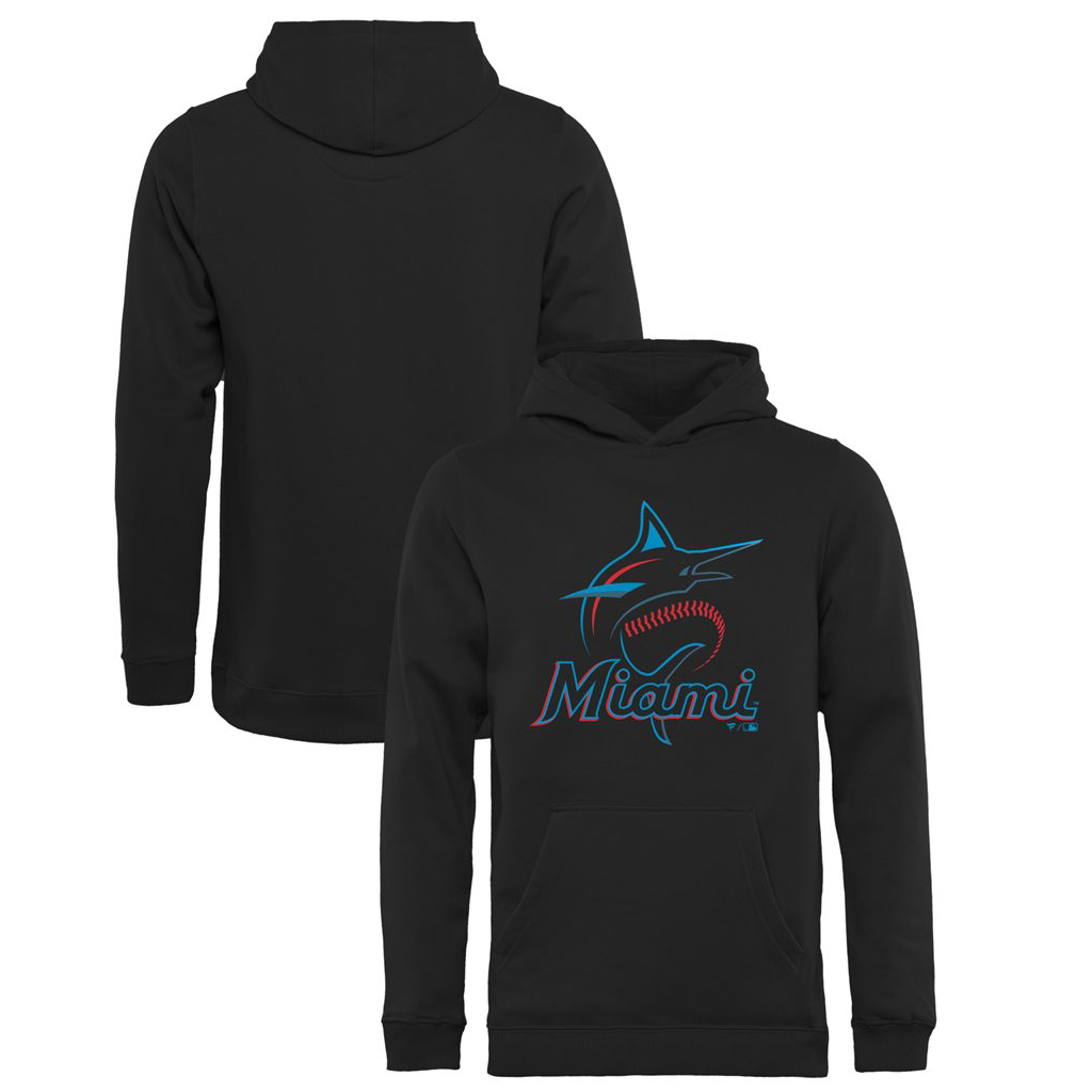 Miami Marlins Fanatics Branded Youth Primary Logo Pullover Hoodie - Black