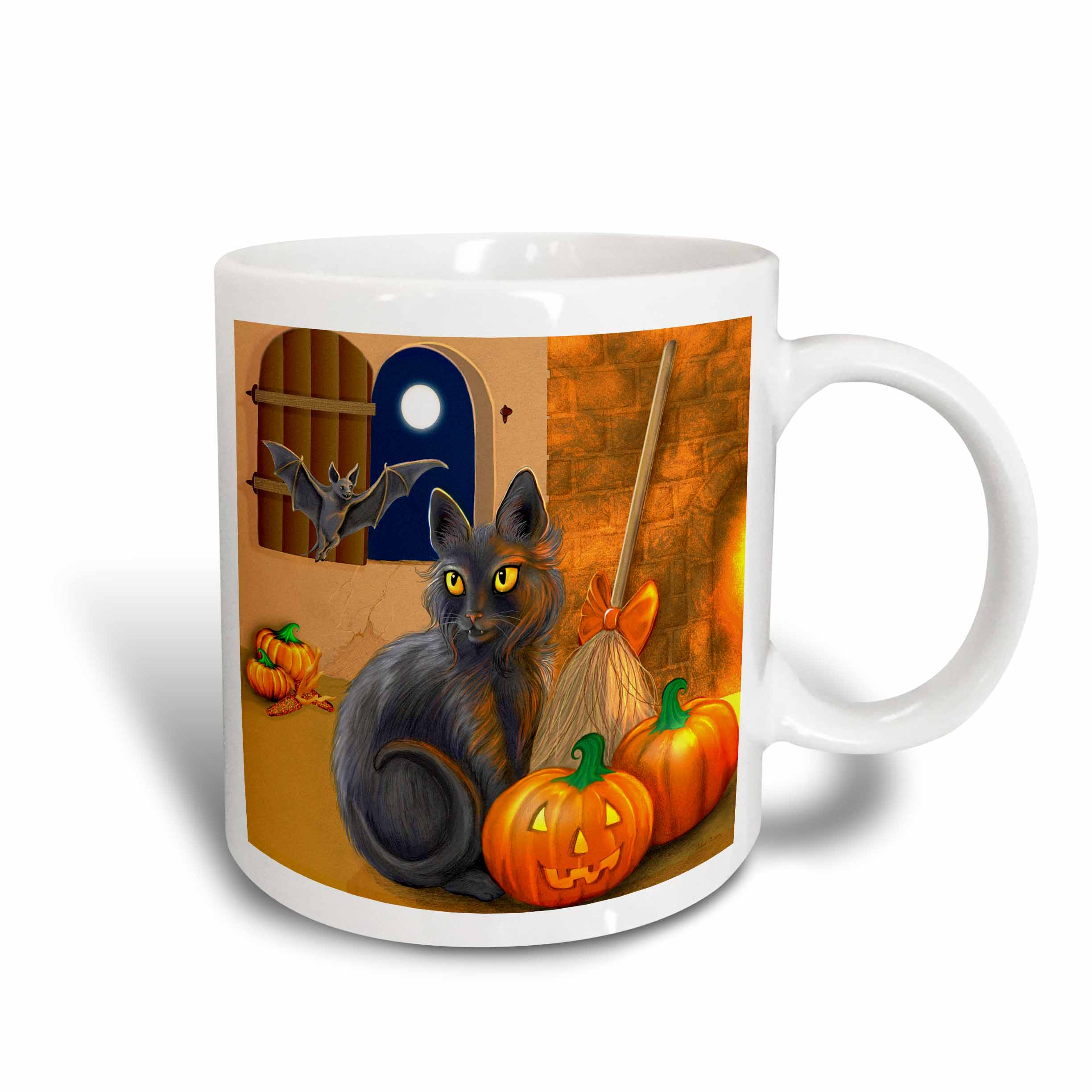3dRose The Witchs Cat sits near a cozy fireplace entertaining her batty friend on Halloween night, Ceramic Mug, 15-ounce