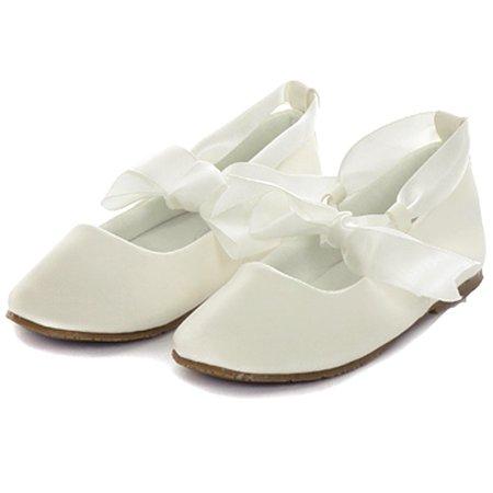 Kids Dream Ivory Ballerina Ribbon Tie Rubber Shoe Little Girl 11-3