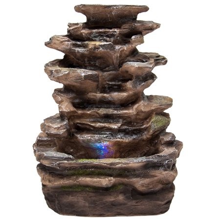 Best Choice Products Tabletop Fountain Waterfall with Multicolor LED Lights for Home, Indoor, Brown
