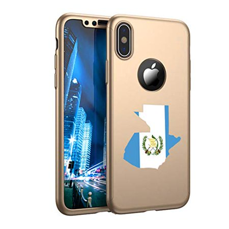360° Full Body Thin Slim Hard Case Cover + Tempered Glass Screen Protector for Apple iPhone Guatemala Guatemalan Flag (Gold, for Apple iPhone XR) (Guatemala Cover)
