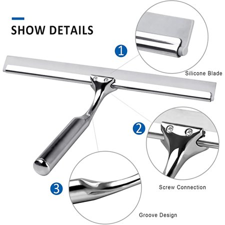 Roofei Shower puller stainless steel shower wiper without drilling with adhesive hook wall hanger, for bathroom mirror window glass cleaning - image 3 of 6