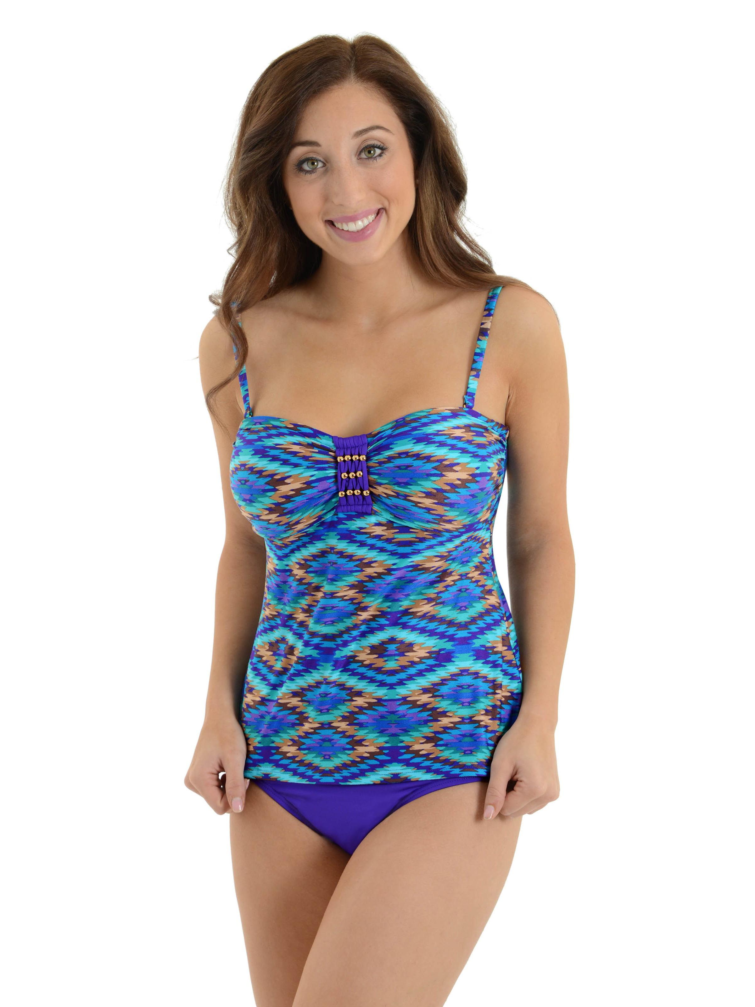 2bamboo Womens Bandeau Tankini Swimsuit 2 Piece Convertible Bathing
