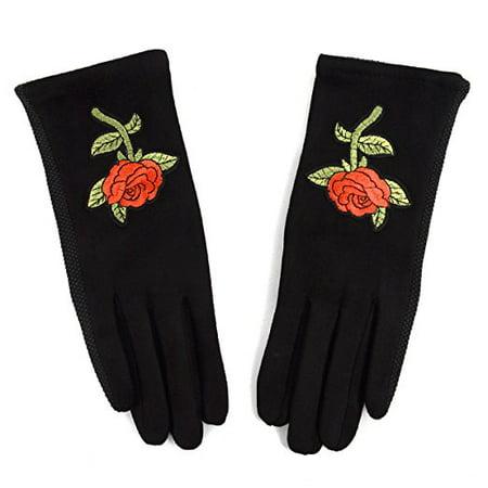 Embroidered Winter Gloves (Ladies' Non-Slip Grip Embroidered Winter Gloves )