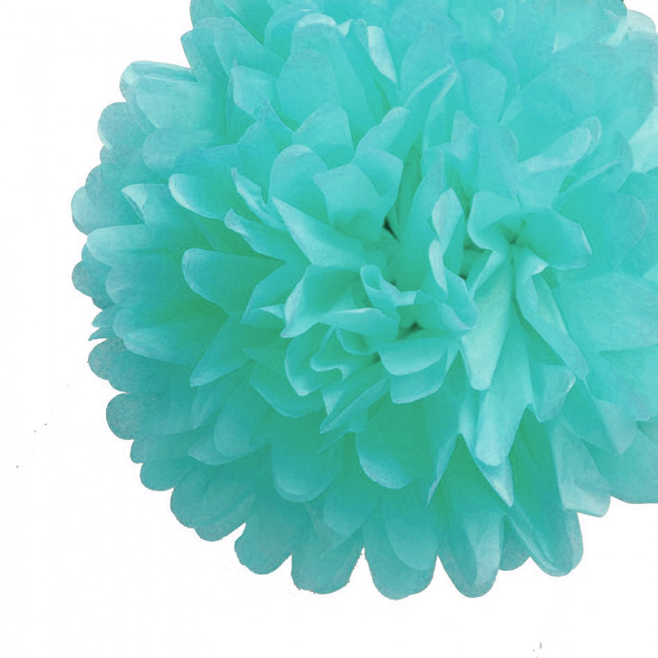 "12"" Arctic Spa Blue Tissue Paper Pom Poms Flowers Balls, Hanging Decorations (4 PACK)"