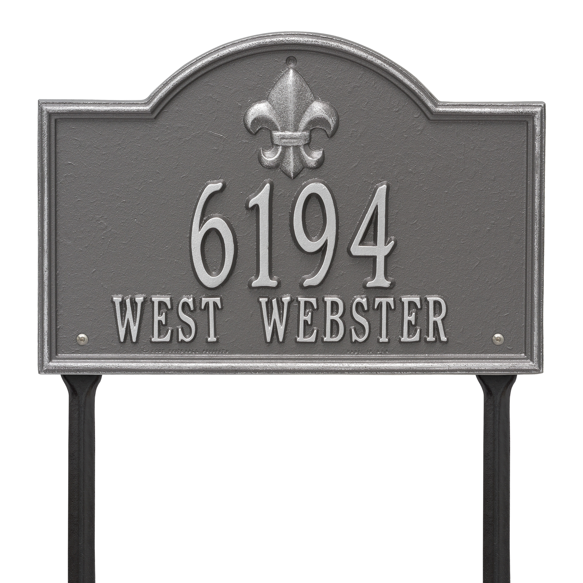 Personalized Whitehall Products Bayou Vista Standard Lawn House Numbers Plaque in Pewter Silver
