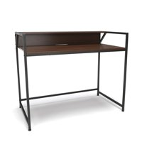 ESS-1003-GRY-WNT Office Furniture Essential Series Modern Design 200 Lbs Capacity Gray Computer Desk With Walnut Shelf