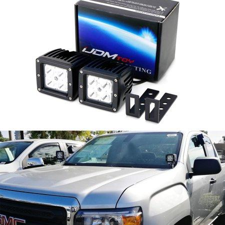 Light Pod Kit (iJDMTOY Complete 40W High Power CREE LED Pod Light Kit w/ Windshield A-Pillar Mounting Brackets & Switch Wiring Relay For 2015-up Chevy Silverado Colorado & GMC Sierra)