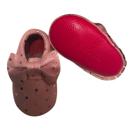 Baby Girls Pink Sequins Red Soft Sole Exotic Bow Suede Crib Shoes 3 18M
