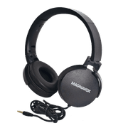 Magnavox MHP5026M-BK Stereo Headphones with Microphone in Black | Wired on Ear Headphones | Corded Headphones with Microphone | 3.5 mm Plug Suitable for Computers & Mobile Phones |