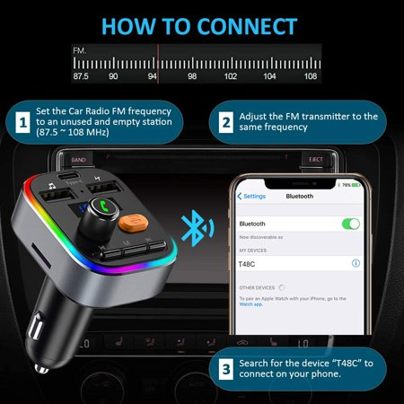 TEUMI FM Transmitter for Car Bluetooth 5.0, [Type C Charging] [8 LED Backlit] Bluetooth Car Adapter, Deep Bass Sound Radio Transmitter, Hands-Free Calling, 2 USB Ports, Support U-Disk/TF Card - image 2 de 5