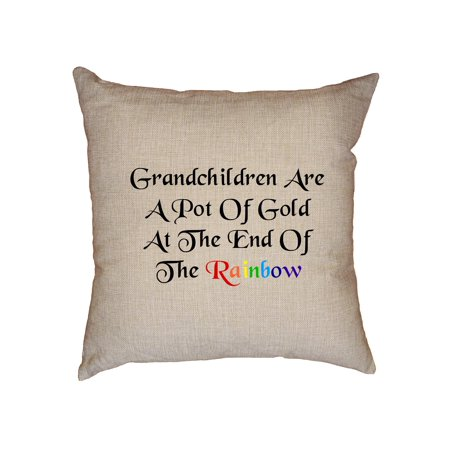 Grandchildren are a Pot of Gold at the End of the Rainbow Decorative Linen Throw Cushion Pillow Case with Insert