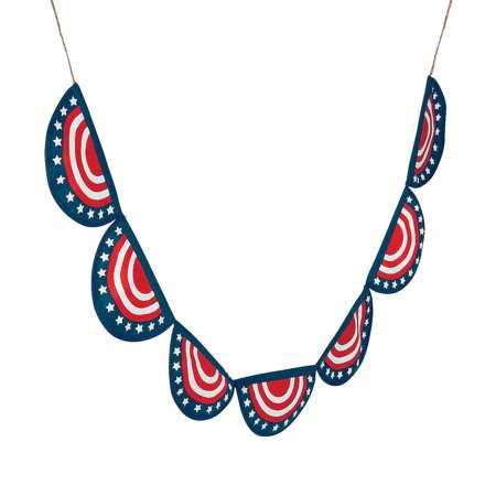 Fun Express - Patriotic Bunting Garland for Fourth of July - Home Decor - Domestics - Textile Accents - Fourth of July - 1 (Patriotic Bunting Garland)