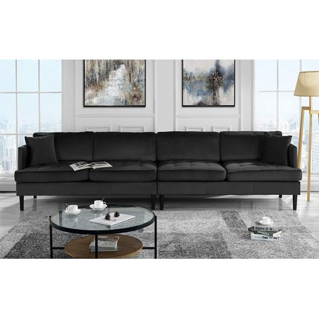 Mid Century Modern Extra Large Velvet Sofa Living Room Couch Black