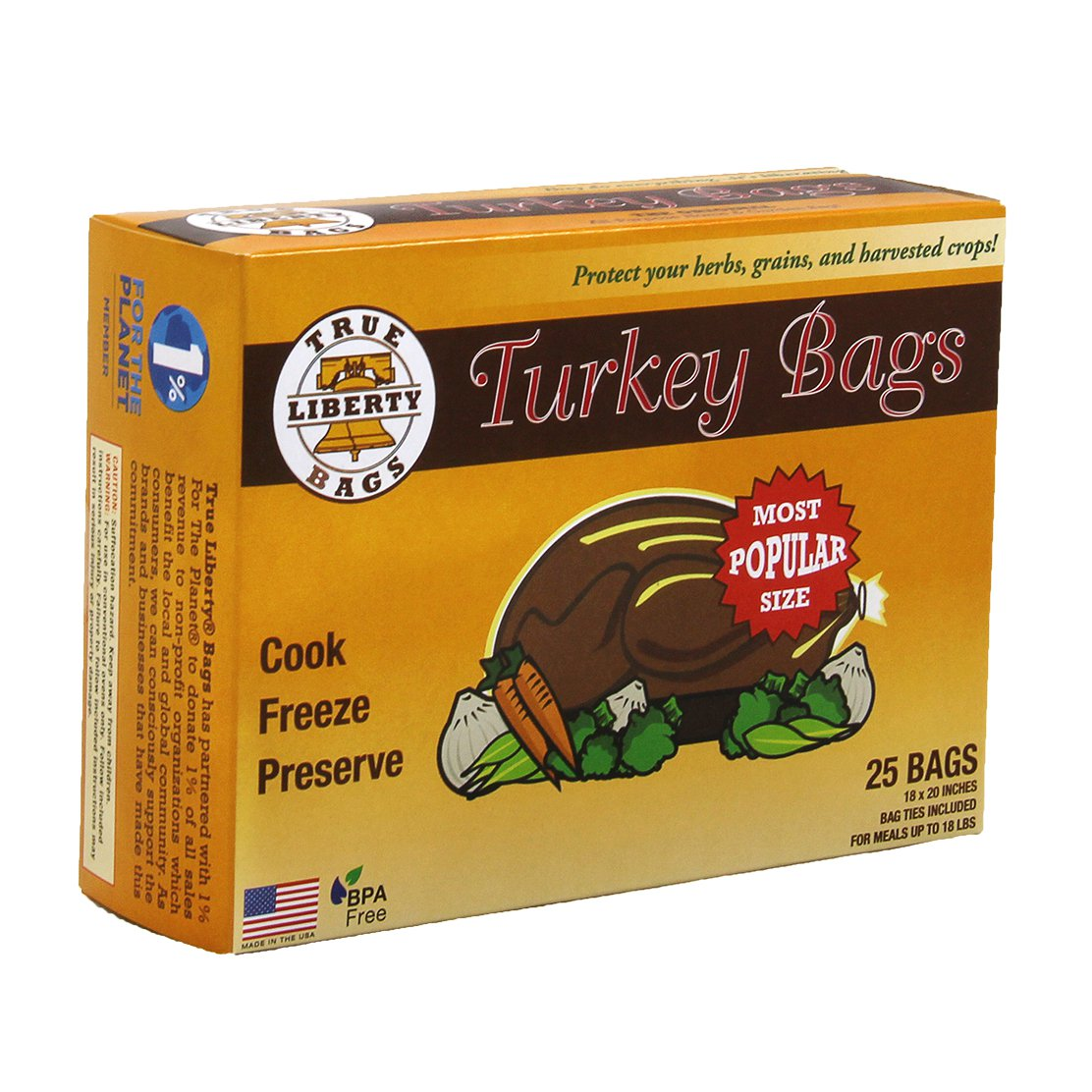 True Liberty Home & Garden Freezer Preservation Turkey Bags, 25 Pack | TLBT25