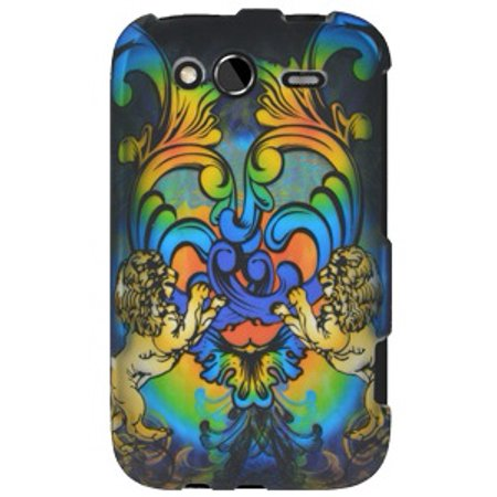 Rubberized Protector Hard Shell Snap On Case for HTC Wildfire S CDMA - Rainbow Lion Sculpture ()