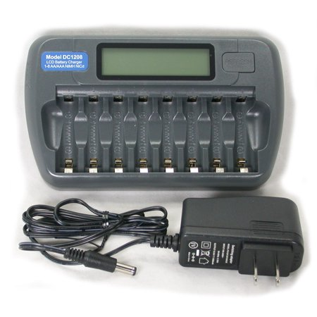 DC1208 Fast LCD Battery Charger AA AAA NiMH NiCd 8 bay (Sc Fast Charger For Nicd Nimh Batteries Vapextech)