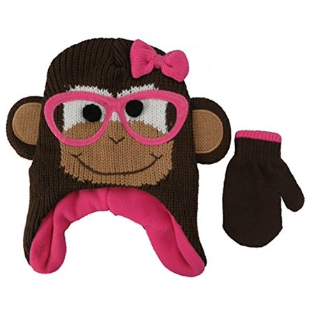 ABG Accessories Knit Animal Monkey Face Critter Hat and Mitten Set - Toddler [4013]