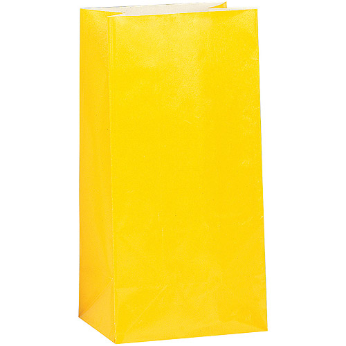 Bright Yellow Paper Party Favor Bags, 12pk