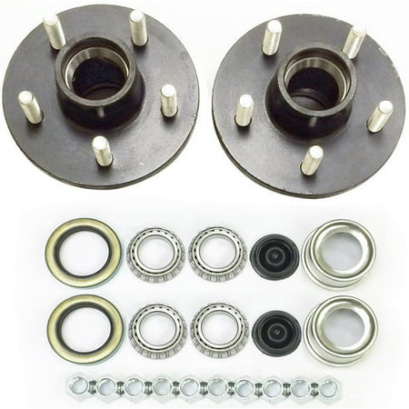 2-Pk Trailer Wheel Hub Complete Kit Steel 5 Lug on 4.75 in. 84 Spindle 3500 Lb.