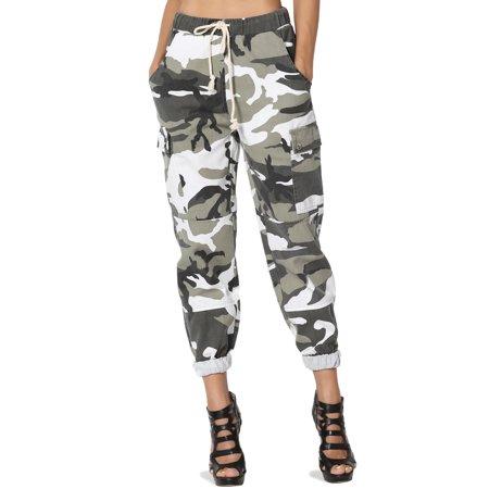 TheMogan Women's Camo Print High Waist Relaxed Slouchy fit Jogger Cargo Pants