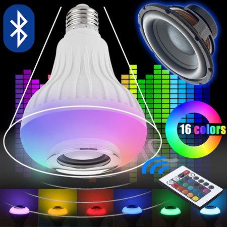 LED RGB Color Bulb Light E27 Bluetooth Control Smart Music Audio