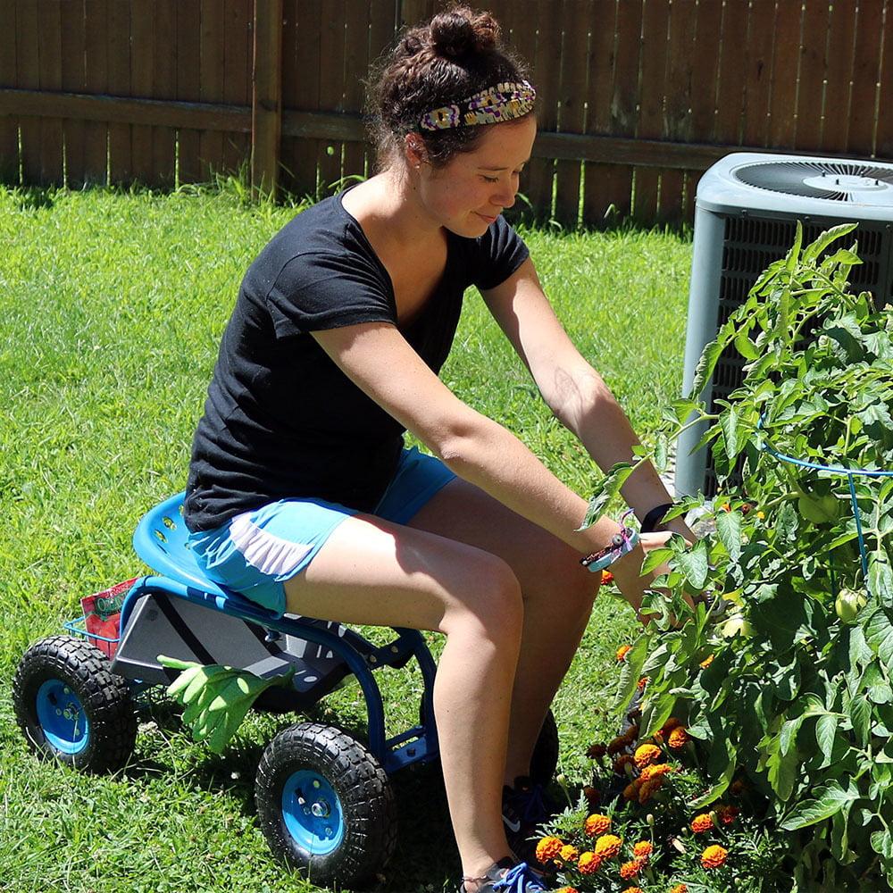 Sunnydaze Rolling Garden Cart with Steering Handle, Swivel Seat & Basket, Green