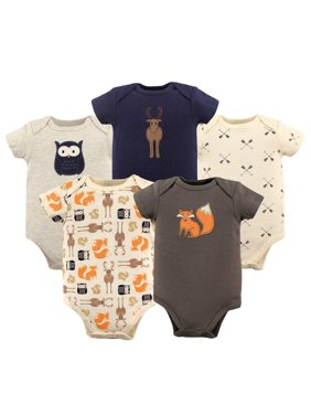 Hudson Baby Boy Cotton Bodysuits 5-Pack