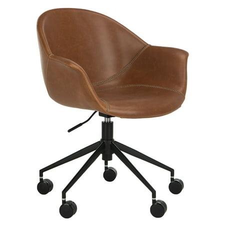 Safavieh Ember Modern Swivel Bicast Leather Office Chair Walmart Com
