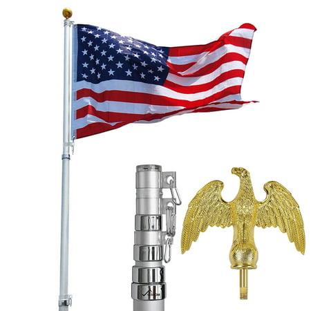 - YesHom 16'/20'/25'/30ft Telescopic Aluminum Flag Pole w/ Eagle Top 3'x5' Us Flag & Ball Top Kit Outdoor Flagpole