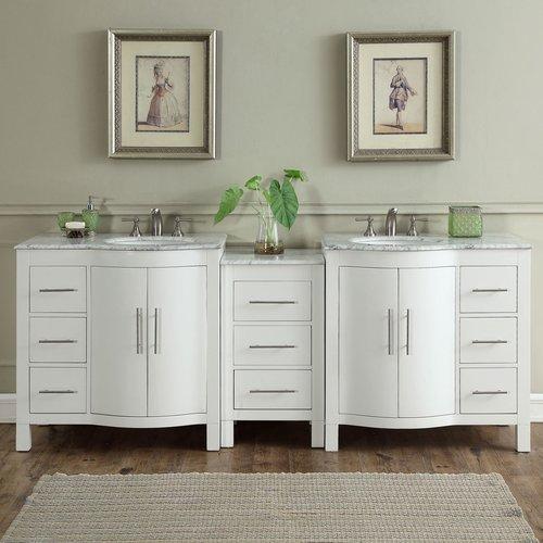 Silkroad Exclusive Kimberly 89'' Double Bathroom Vanity Set
