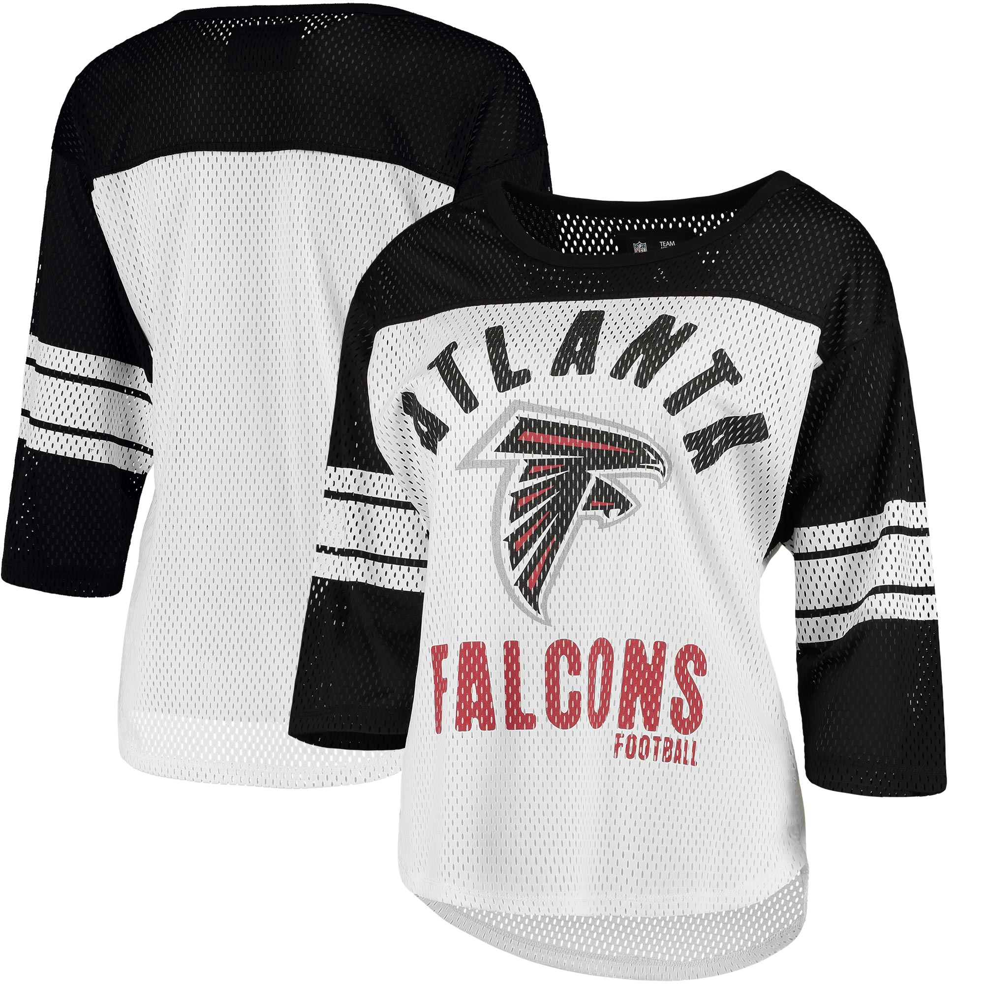 Atlanta Falcons G-III 4Her by Carl Banks Women's First Team Three-Quarter Sleeve Mesh T-Shirt - White/Black