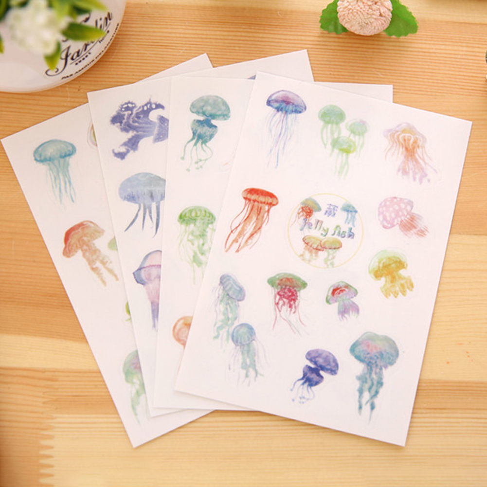 Girl12Queen 4 Sheets Cartoon Jellyfish Decor Phone Diary Sticker Stationery DIY Album Decal