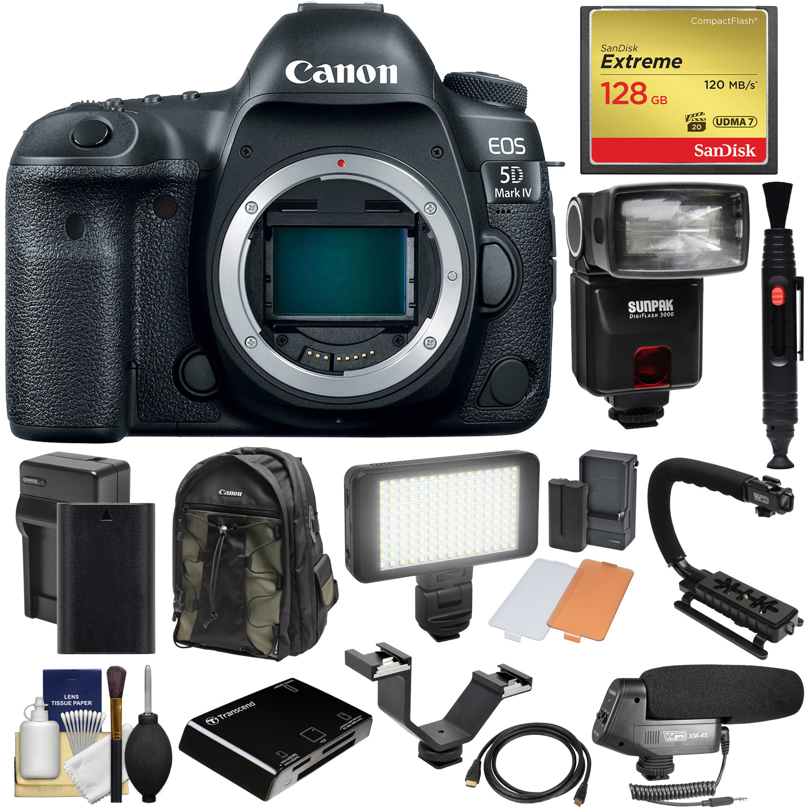 Canon EOS 5D Mark IV 4K Wi-Fi Digital SLR Camera Body with 128GB CF Card + Battery & Charger + Backpack +... by Canon