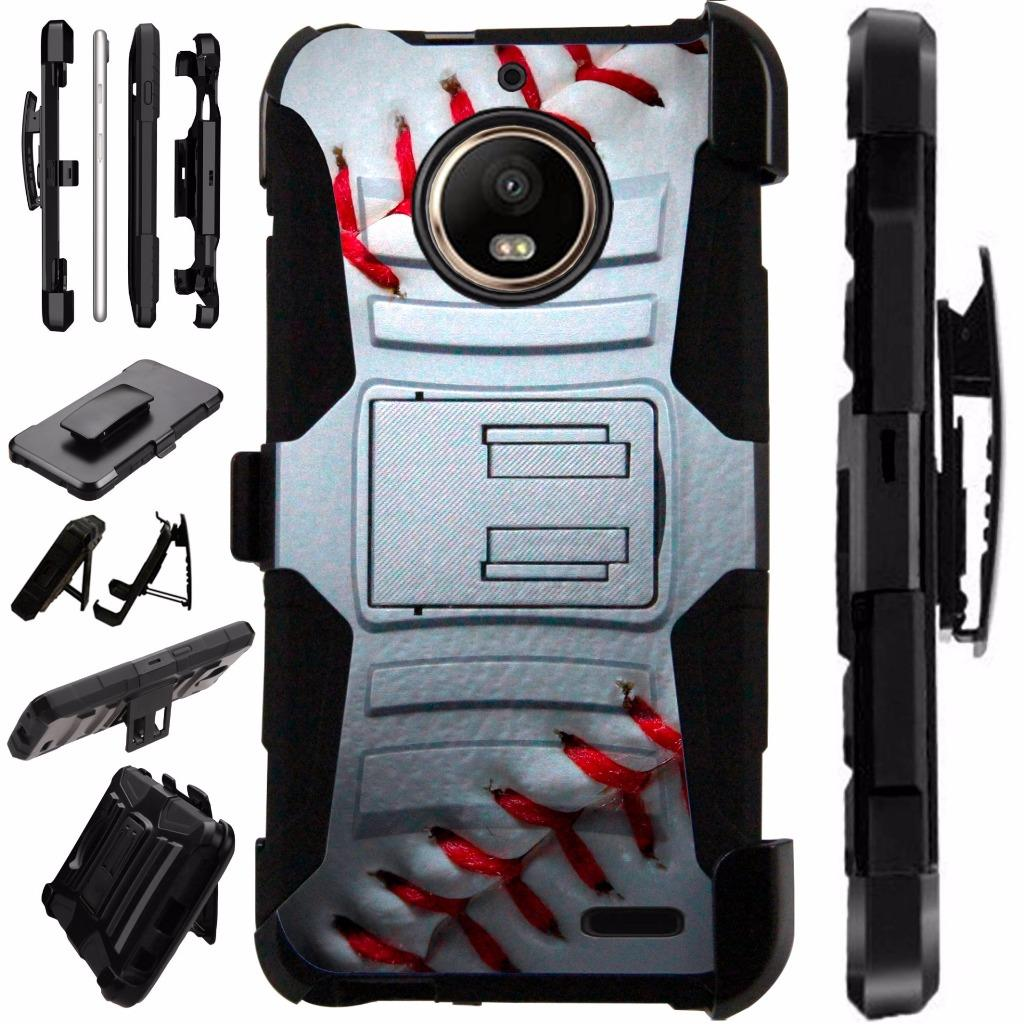 For T-Mobile REVVL Plus Case / Coolpad REVVL Plus Case Armor Hybrid Silicone Cover Stand LuxGuard Holster (Baseball)