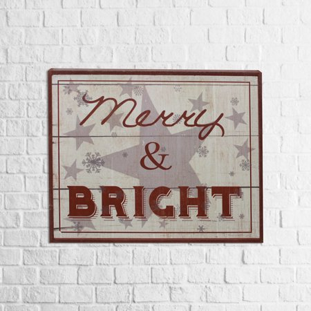 Merry Products Wood (Bright and Merry Christmas Wood Sign Holiday Home Decor 12