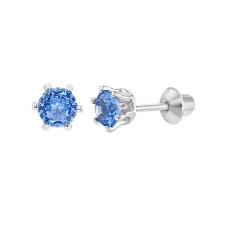 925 Sterling Silver Round CZ Prong Set Screw Back Earrings Girls Teens (Blue Rhinestone Screw Back Earrings)