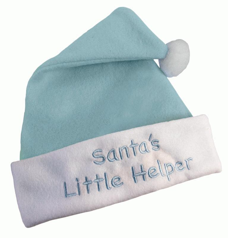 "Newborn Infant Santa Hat ""Santa's Little Helper"" Embroidered Christmas Accessory"