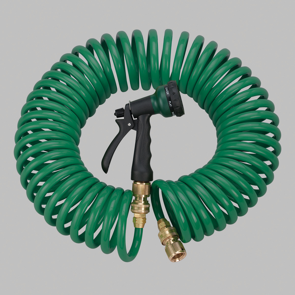 Orbit Green 50' Coiled Garden Hose with 6 Pattern Spray Nozzle, Coil Hoses 27872