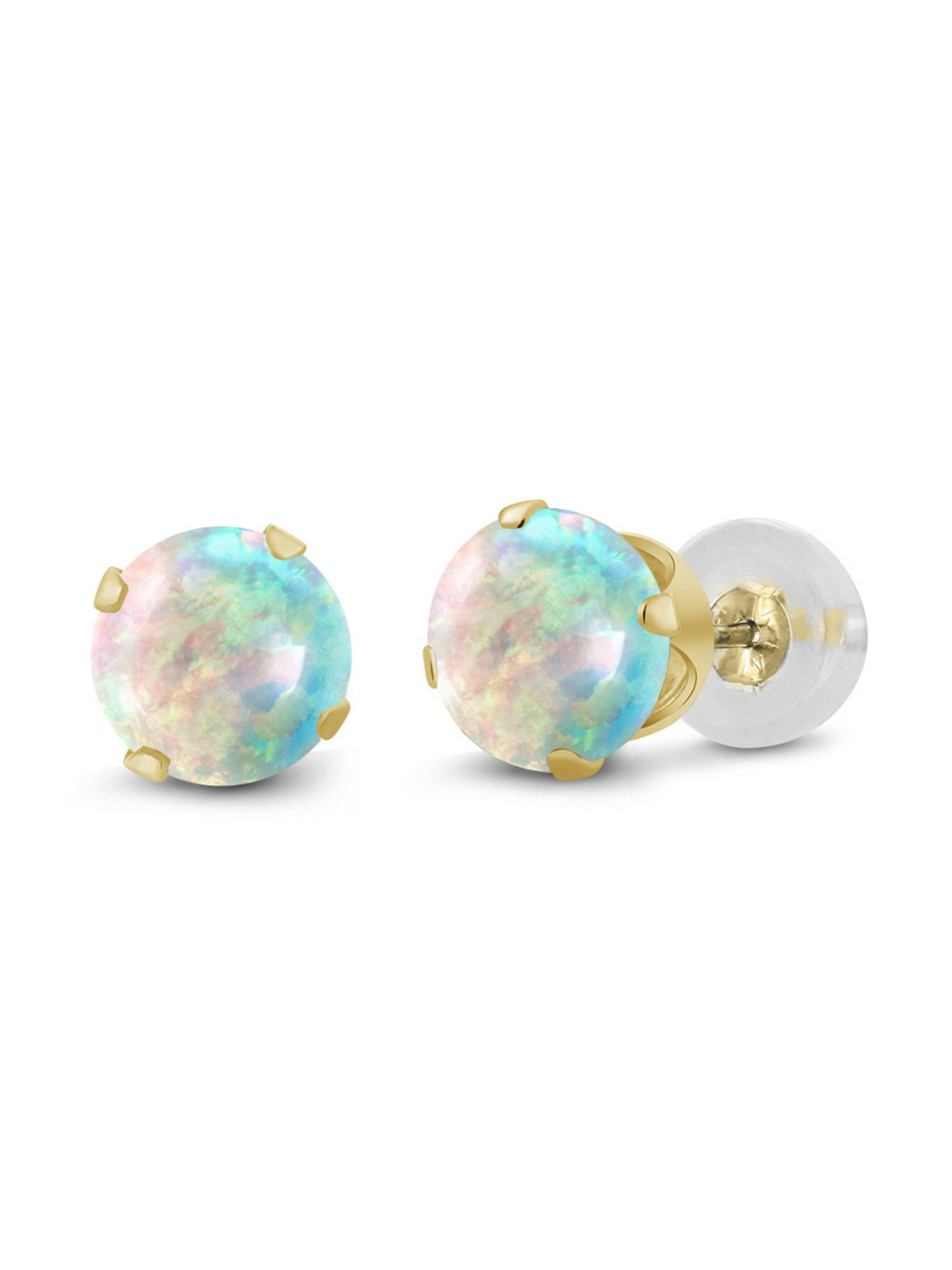 0.50 Ct Round Cabochon 4mm White Simulated Opal 14K Yellow Gold Stud Earrings by
