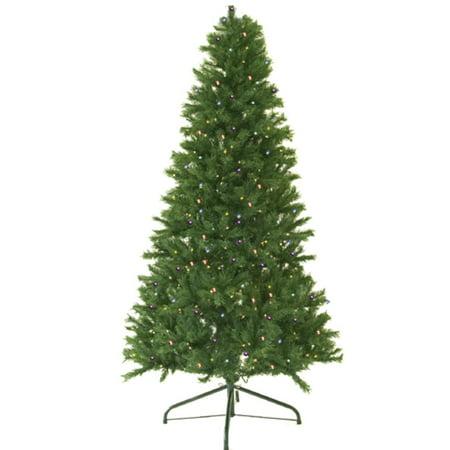 7 Pre Lit Canadian Pine Artificial Christmas Tree Multi Led Lights