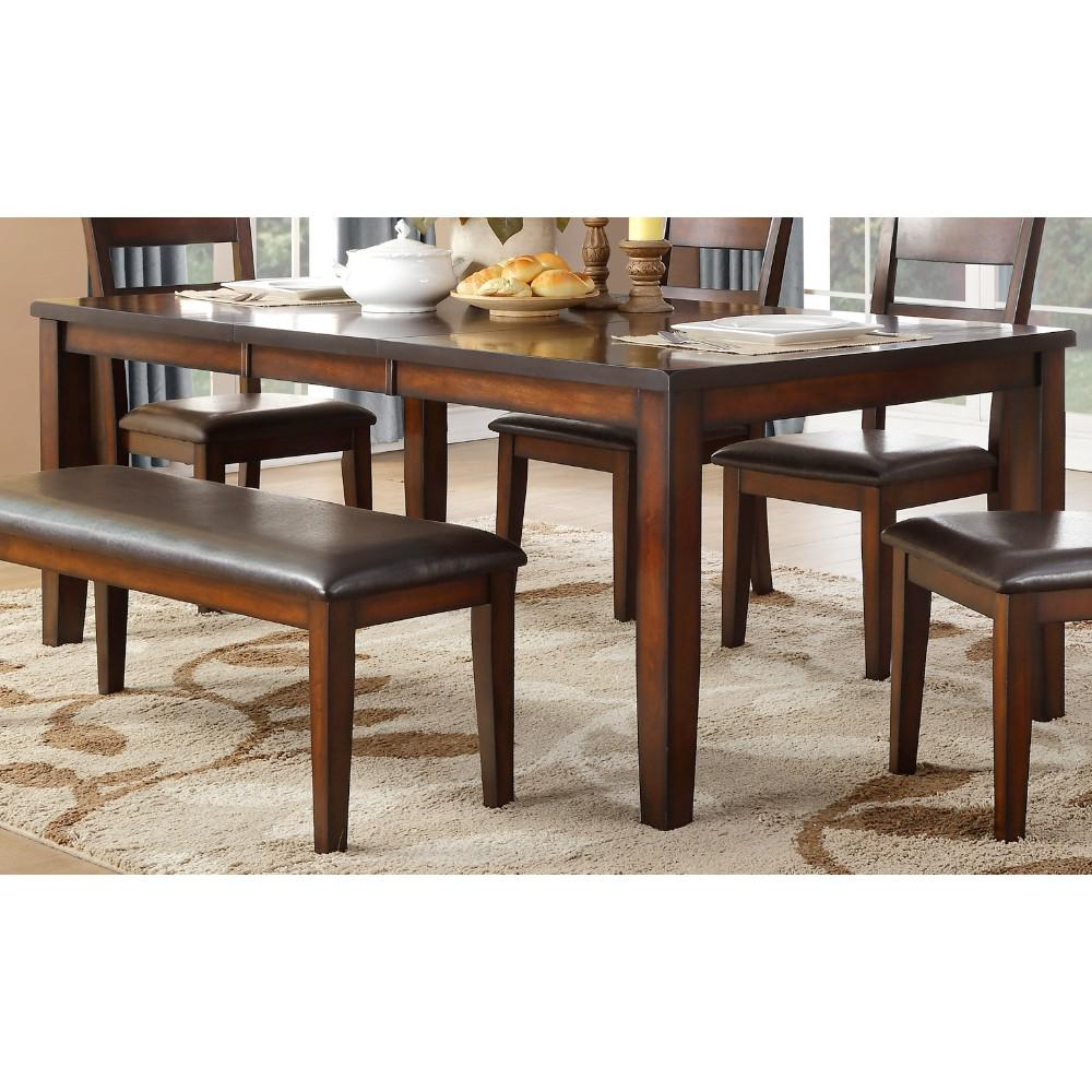 Mango Veneer Dining Table With A Sleek Surface, Cherry Brown