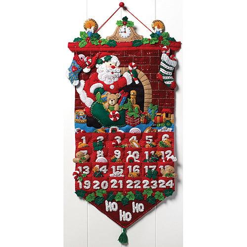 Bucilla Felt Home Decor Kit, Must Be Santa Advent Calendar
