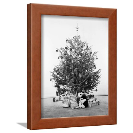 Christmas Tree with Presents and Toys Framed Print Wall Art ...