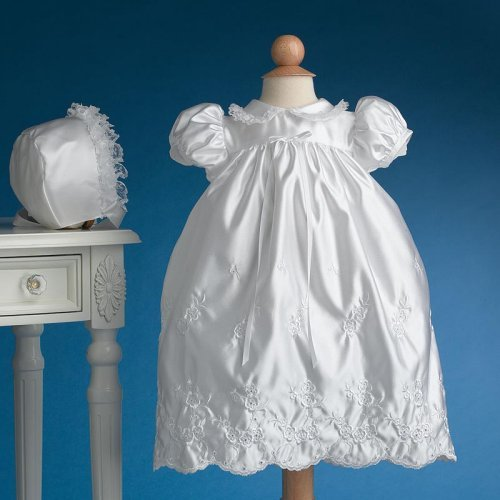 Cristina Satin Floral Christening Gown
