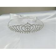Girls 1st Communion Wedding Bridal White Veil Flower Girl Wreath Tiara Rhinestone Crown Cross Headpiece