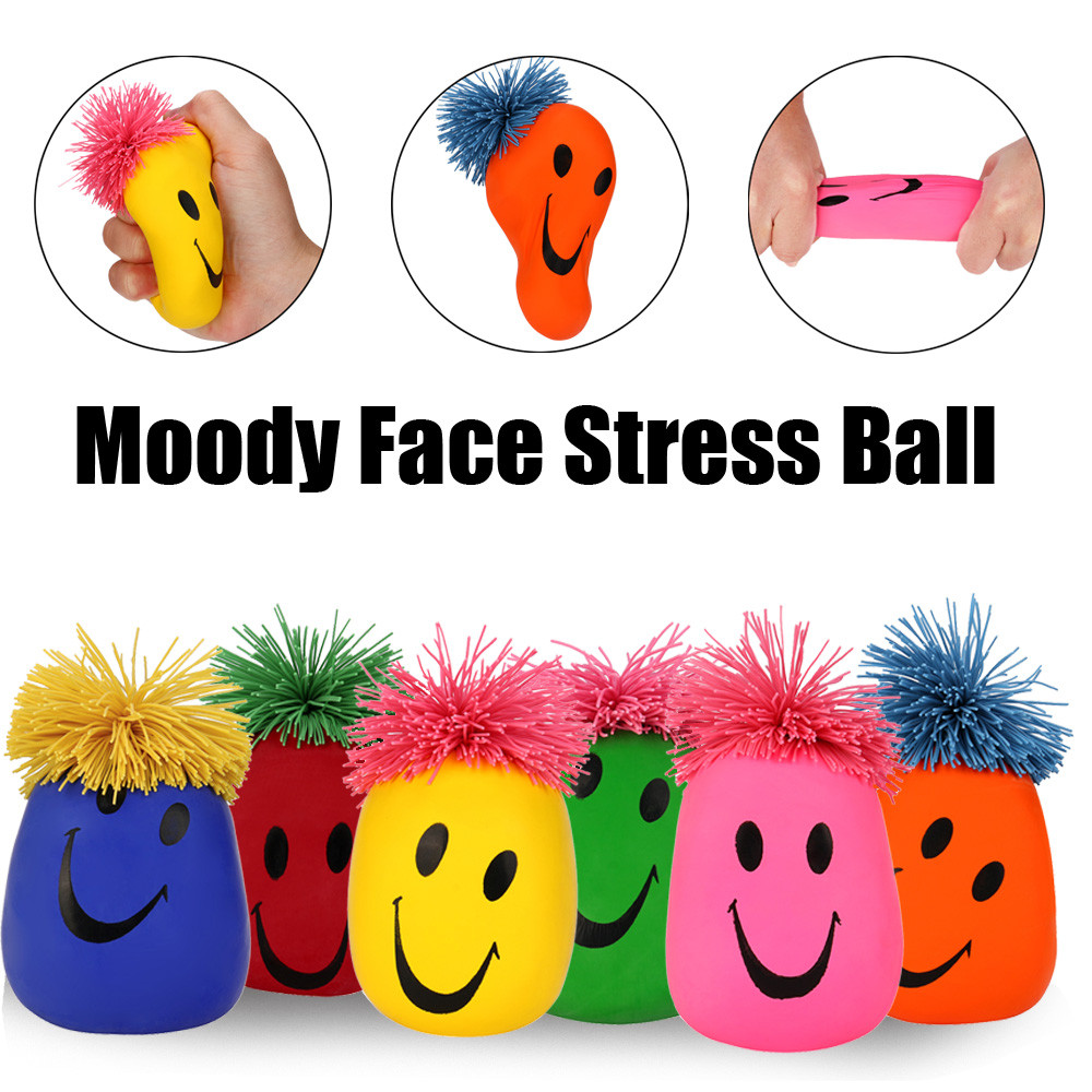 New Fashion Super Stretchy Moody Face Stress Ball Smile Face Squeeze Toy Time Killing Toy