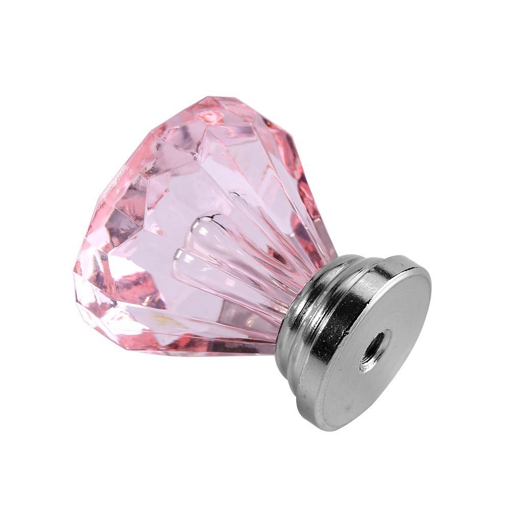 Zerodis 25mm Diamond Shape Acrylic Kitchen Bedroom Cabinet Knob Drawer Furniture Pull Handle